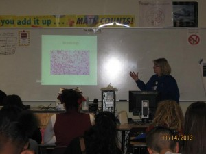 Nancy Bacon, Laboratory Manager, presenting to a group of West High Students.