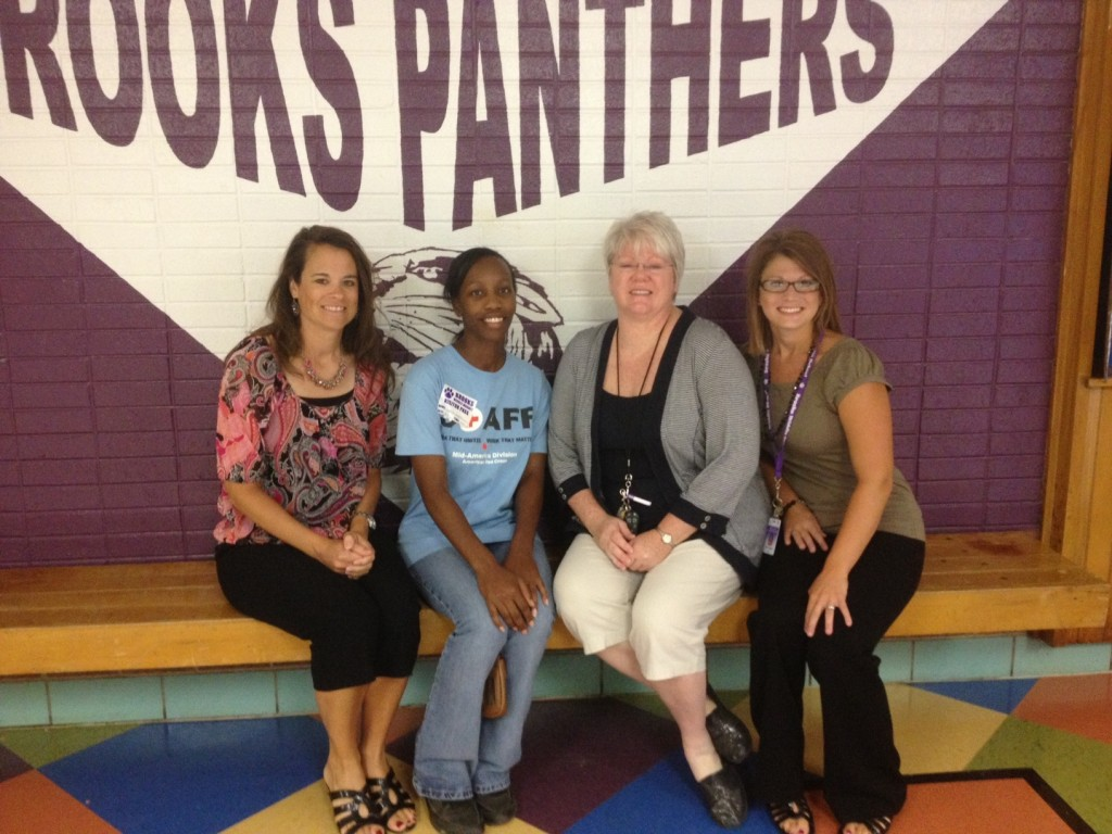 Teresa Wolfe, KHH, DaMita Burgess, Brooks PTSO Box Top Rep, Joni Hawks, Tutoring & Mentoring Coordinator, Brooks Middle Magnet, and Katie Guimond, MSW Site Coordinator, Brooks Middle Magnet