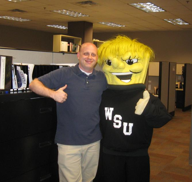 David Kloke, KHH employee and WSU Alum wins a visit from WuShock.